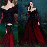 Schwarze und rote Abend formale Kleider mit langem Ärmel 2019 Vintage V-Ausschnitt Perlen Pailletten Dubai Arabisch plus Größenabballkleid