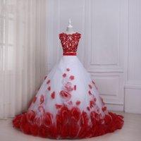 Due pezzi Quinceanera Ball Gown Prom Abiti da sera 3D Floral Floral Floral Applique Pizzo Sheer Collo Hollow Back Designer rosso e bianco