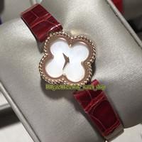 Trébol de la serie VAF 18K Rose de cuatro hojas Caso dulce Alhambra VCARO8SF00 Madre de línea de perlas de cuarzo suizo de las señoras del reloj de señora relojes de moda