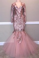 2019 Blush Pink Sequined Mermaid Prom Dresses Sexy Shinny Long Sleeve Formal Party Gown Plus Size Trumpet Pageant Dress Custom Made