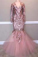 2019 Erröten rosa Pailletten Mermaid Abendkleider Sexy Shinny Langarm-formale Partei-Kleid plus Größe Trompete Festzug-Kleid nach Maß