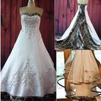 Vintage A Ligne Robes de mariée Camo avec broderie Broderie Train de Court Plus Taille Taille Vintage Country Garden Bridal Robes