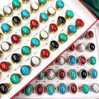 Alla moda 30 Pz / Set Gem Pinestone Turquoise Band Anelli Retro Boemia Stile Fascino Mix Metal Big Size Uomini e Donne Bella gioielli regalo di gioielli