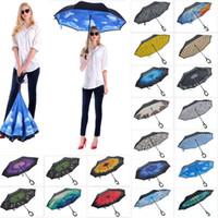 C Griff Folding Umbrella umge Double Layer Regenschirme Inverted Stiel Winddichtes Regen Auto Regenschirme HH7-1950