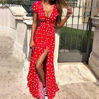 Yaz Kadın Boho Elbise 2020 Seksi V Boyun Kısa Kollu Plaj Sundress Casual Nokta Baskı Uzun Elbise Vintage Parti Elbiseler