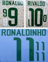 2002 brasilianischer Retro-Retro-Heimdrucker-Namenssatz RONALDO RIVALDO RONALDINHO, der die Buchstaben des Fußballspielers stempelt, beeindruckte die Fußballaufkleber Brasilien