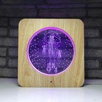 BRELONG 3d Quallen Vision Light Holzmaserung buntes Acrylbürodekoration Nachtlicht Multicolor 1 pc
