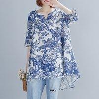 Kadın T-Shirt Johnature İlkbahar Yaz Retro Çiçek Baskı V Yaka Yarım Kollu Düzensiz Moda T-Shirt 2021 Boş Zaman Tüm Maç Kadınlar Tops
