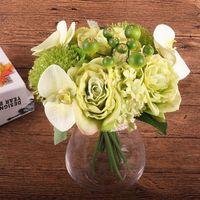 Seda boda ramo de flores rosa orquídea Berry flores artificiales falsos caída de Vivid Flor Hoja nupcial de la boda Ramos de la decoración del hogar