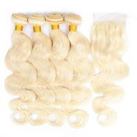 Kisshair Body Wave 4 Bündel mit Verschlussfarbe 613 Blondes menschliches Haarwebart Brasilianische Jungfrau Remy Hair Extensions