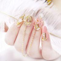 NA057 recente decorazione di arte di lusso in lega zircone Nail zircone strass nappa / cuore / ala unghie gioielli di livello superiore Charms lungo chiodo