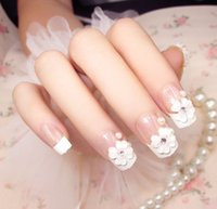 New 24 pieces Party Wedding Show French Manicure 3D Long Fak...