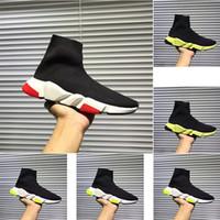 Meilleure qualité entraîneur de vitesse noir designer hommes et femmes noir rouge casual chaussures de mode chaussettes casual chaussures veste bottes taille 34-45