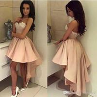2020 hoge lage korte prom jurken licht roze witte kant cocktail jurken lieverd sexy lage rug korte voorste lange rug formele feestjurken