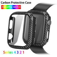 Para fibra de carbono da Apple Assista Case Série 5 4 3 2 1 38 milímetros 42 milímetros 44 milímetros 40 milímetros iWatch PC Hard Case Com vidro temperado Film In Box Retail