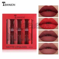 Lip make-up matte flüssige lippenstift wasserdicht rot lipgloss make-up tätowierung lang dauerhaft 4 teile / satz lippenfarbstöne lip gloss