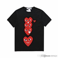 2018 venta al por mayor COM La mejor calidad Blanco Negro CDG New Mens Womens des play 1 CDG Red Heart manga corta des 1 camiseta Vintage Play