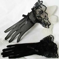 Lady Lolita Lace Handschuhe Fischnetz bowknot Partei-Abschlussball Hochzeit Braut Handgelenk Fäustlinge