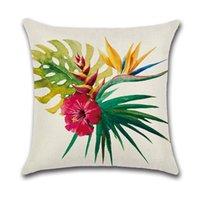 Início capas de almofada 45x45cm customizável impressão de um lado Flor tropical Flamingo Roupa Sofá decorativa fronha DH0568 T03