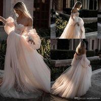 Champagner lange Ärmel Tüll Böhmen Strand Hochzeitskleid aus Schulter TULED Tüll Plus Größe Hochzeitskleid Brautkleider Vestidos de Novia