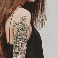 여성 방수 검은 문신 스티커 3D 꽃 레이디 어깨 DIY 문신 로즈 모란 꽃 소녀 임시 문신
