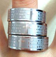 30 stks Jeremiah 2911 Ringen Engels Bijbel Kruis Jezus Rvs Ringen Gegraveerde Mens Lords Praided Band Ring Groothandel Sieraden