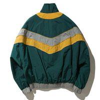MCCKLE Vintage Multicolor Color Block Patchwork vestes coupe-vent Automne Hip Hop Streetwear Zip Up Blousons Casual Grande