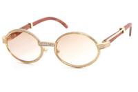 Di buona qualità Occhiali 18K Vintage legno 7550178 occhiali da sole rotondi Vintage Unisex High-end diamante Occhiali limitata C Decoration cornice d'oro