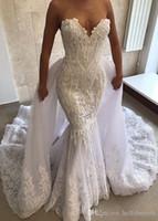 2019 섹시한 인어 웨딩 드레스 분리형 스커트 기차 빈티지 화이트 V 목 레이스 Applique 코르셋 결혼식 신부 가운 미국