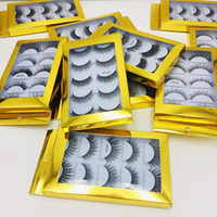 3D Mink Eyelashes Natural Eyelashes Long Eyelash Extensão Faux Falso Olho Olho Lashes Ferramenta de Maquiagem 5Pairs / Set RRA2512