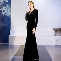 Vestidos de noche de sirena de terciopelo abalorios con mangas largas Vestidos de celebridades de noche de moda negra 2019 Vestidos de baile Vestidos de fiesta formales