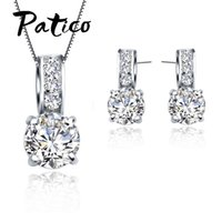European Brand 925 Cubic Zircon Pendant Necklace Earring Wom...