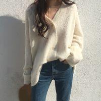 Женщины Новой осень зима свитер кардиган пальто с длинным рукавом Сыпучих Толстого мохер свитер Повседневной женщиной Твердым вязать свитер пальто