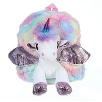 2 Colors Unicorn Plush Backpacks Kids Cartoon 3D Plush Schoo...