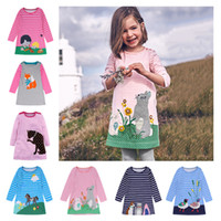 Retail baby girl designer clothes long sleeve stripe cartoon...