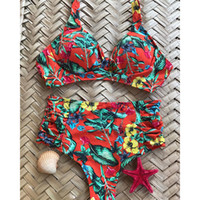 df43be90f5 High Waist Swimsuit Plus Size Swimwear Women Vintage Bikini Bathing Suit  2019 Retro Bikini Set Large Size Swimsuit Dropshipping