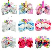 Drop Shipping 8 '' Jojo Haar Bow Grote Sequin Unicorn Cheer Bows Glitter Bands voor Meisjes Boutique Pompom Haar Clip Haaraccessoires 6 Stks