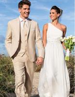 Новый заказ Beige Мужские костюмы Свадебные смокинги Groom Пик нагрудные дружки Жениха костюмы (куртка + брюки + жилет) Пром Надеть 555