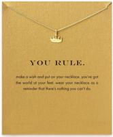 Corona Colgante Reglas Aleación Oro Plata Collares Collar de cadena corta para mujeres Gargantilla Regalos con tarjeta Sin logotipo de Dogeared