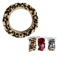 DONYUMMYJO Winter Universal Soft Leopard Warm Plush Covers Car Steering Wheel Cover Car-styling Velvet Auto Decoration