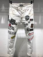 DSQ Phantom Turtle Classic Fashion Man Jeans Hip Hop Rock Moto Mens Décontracté Design Décontracté Jeans Détresse Skinny Denim Biker DSQ Jeans 6929