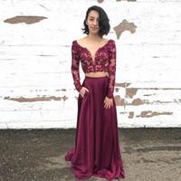 부르고뉴 두 조각 라인 파티 드레스 환상 V - 넥 긴 소매 레이스 파티 가운 Applique 이브닝 드레스 vestidos 드 fiesta