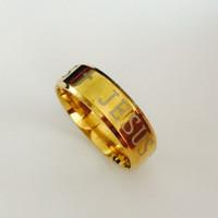 Anello europeo di alta qualità in tungsteno USA 8mm Anello Gesù riempito in oro uomo donna croce incisa anello bibbia lettera formato USA 6-13