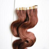Remy Extensions De Bandes De Cheveux Humains 100g Pleine De La Cuticule Sans soudure vague de corps Trame De La Peau De Cheveux Salon Style 40pcs