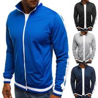Moda Erkek Zip Yukarı Düz Renkli Ceket Spor eskitmek Kaburga Kol Beyzbol Bombacı Ceket Jumper Fermuar Top Coat