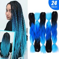 Оптовая 24inch синтетические волокна высокой температуры Ombre Kanekalon Brading выдвижения волос 100g / шт Jumbo плетение волос