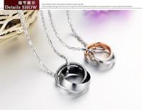 Aço Inoxidável 316L casal colar pingentes sua e sua promessa colar conjunto de pingente de cristal colar de corrente colar de amor