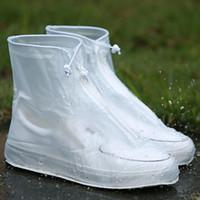 高品質の男性女性の雨防水ブーツカバーヒールブーツ再利用可能な靴カバー厚い滑り止めプラットフォームレインブーツ5ペア/ 10pcs