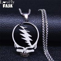 AFAWA Grateful Dead Skull Stainless Steel Chain Necklace for...