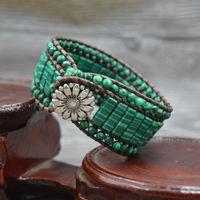 Yoga européen Bohemian Green 4mm Perles de perles malachites Strands Bracelet en cuir pour femmes Bracelets à la main Bracelets Assistez à la soirée de fête